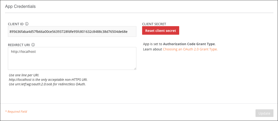 App Credentials screenshot